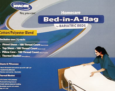 "Bariatric Bed-In-A-Bag Cotton polyester blend items include 1 each: jersey knit fitted bottom sheet, top sheet, pillowcase and cotton blend thermal blanket. 50/50 cotton/polyester surface jersey knit fabric bed linens never need ironing. Unique two-way stretch keeps sheets smooth and wrinkle-free. Fits bariatric size hospital bed mattress up to 44""x 88""x 9"". Open cell construction thermal blanket is preshrunk for long term service and breathable for warmth and comfort."