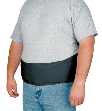 "Extended Abdominal/Back Support Lightweight, breathable latex-free elastic helps contain & lift the abdomen. Front panel tension straps provide additional support. Back of the support is designed to support the spine and help transfer the load evenly and comfortably. Flat measures 60""x 8"". One size fits 2X-4X. Fully adjustable. Latex-Free. Made in the U.S.A."