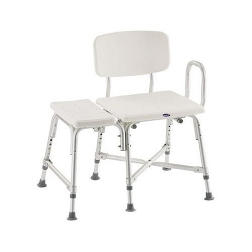 "Bariatric Heavy-Duty Adjustable Transfer Bench Features 6 legs for extra support: 4 inside the tub, 2 outside. Blow-molded seat and back on epoxy-coated aluminum frame with steel cross brace. Seat is 27""W x 16""D and adjusts from 14 - 18""H. Almond.Weight capacity: 500lbs."