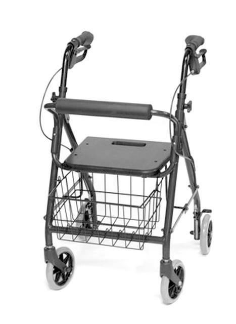 "Bariatric Rollator Bariatric rollator features loop brakes, large 18"" x 13"" padded seat and wire basket. Adjustable handle height 33 - 38"", seat-to-floor height 21- 1/2"". Large 8"" casters. Weight capacity 400lbs"