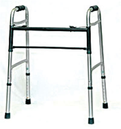 "Bariatric Walker Walker features easy-to-use, push-button mechanisms that may be operated by fingers, palm or side of hand. Each side operates independently to allow easy movement through narrow spaces and to provide greater stability when standing up. Front cross-braces are located near the top of the walker, to allow full stride. Sturdy 1"" diameter aluminum tubing is sturdy and lightweight. Contoured foam handgrips. Folds to 4-1/2"" for easy transportation and storage. Height adjusts from 30 - 43 1/2"" in 1"" increments. Overall width is 22"".Weight capacity 500lbs."