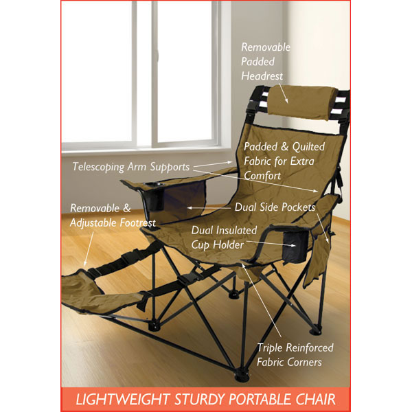 Mr. Big Travel Chair The most portable bariatric chair on the market! Can safely hold 800 lbs. Includes removable head and foot rests, dual insulated cup holders, side pockets and 3-in-1 carrying case/ground cloth/fleece lined blanket. Available in Las Vegas Gold or Midnight Black